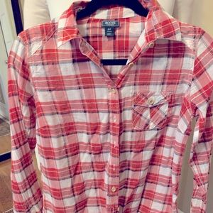 Roots Red Plaid Top